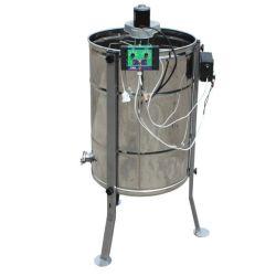 Медогонка 2 - х рамочная неповоротная нержавеющая с электроприводом и кассетами из черной стали ременная (М93238РВ)