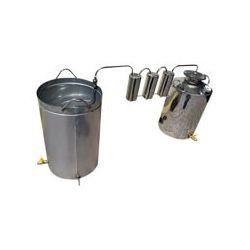 Непроточный дистиллятор тройной очистки Cropper на 40 литров с сухопарником и емкостью под воду
